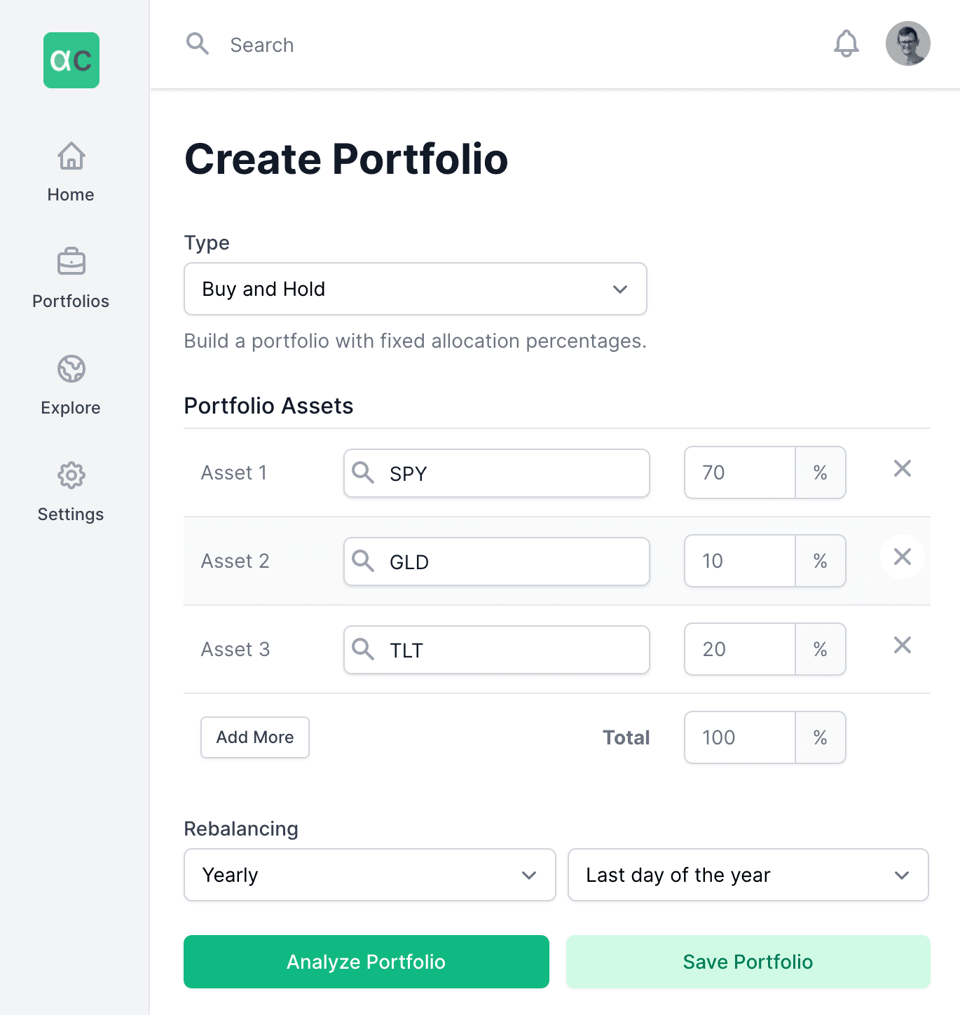 Backtesting tool user interface